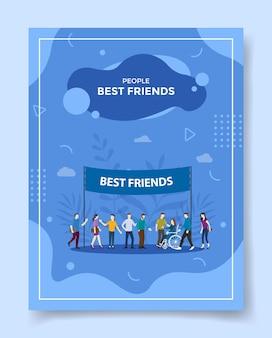 Melhor amigo, as pessoas se encontram para um modelo de folheto