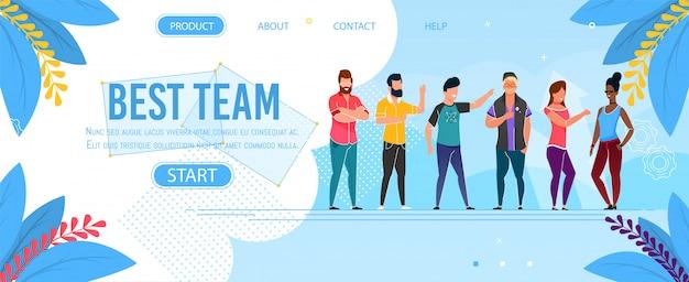Melhor apresentação da página de destino de personagem de equipe