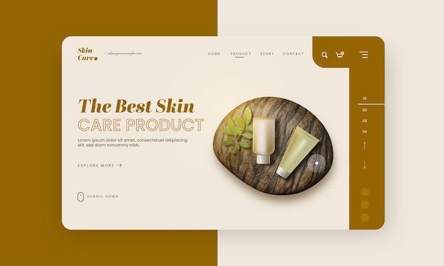 Melhor banner de herói de produto para a pele ou layout de modelo para publicidade.