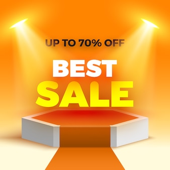 Melhor banner de venda no palco para a cerimônia de premiação com holofotes. pedestal. pódio branco com tapete laranja. cena hexagonal. ilustração.