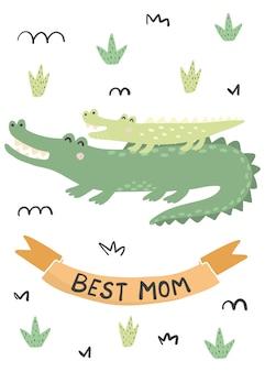 Melhor cartão de mãe com um crocodilo fofo - mãe e bebê. ilustração