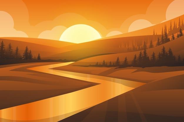 Melhor cena da paisagem natural de montanha, rio e floresta com pôr do sol à noite em tons quentes. ilustração
