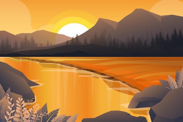 Melhor cena da paisagem natural de montanha, rio e floresta com pôr do sol à noite em tons quentes. ilustração Vetor grátis