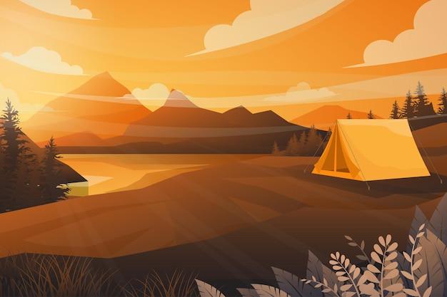 Melhor cena de barraca de acampamento em paisagem natural de montanha, rio e floresta com raio de sol do pôr do sol à noite em tom quente. ilustração
