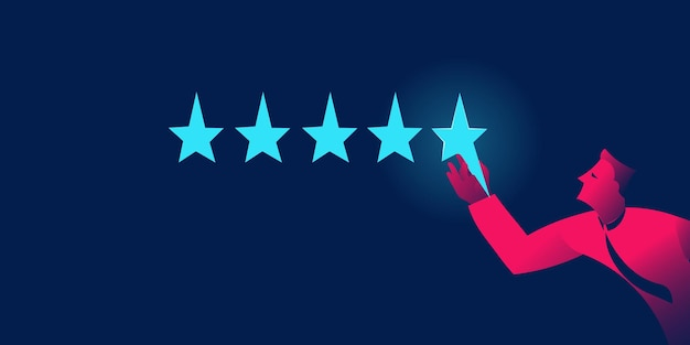 Melhor classificação, pontos de cinco estrelas, conceito de sucesso em gradientes de néon vermelho e azul