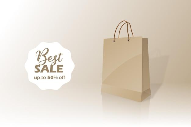 Melhor conceito de sacola de papel comum em crachá de venda com desconto de cinquenta a 50 por cento