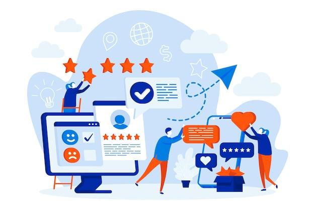 Melhor conceito de web design de feedback com ilustração de personagens de pessoas