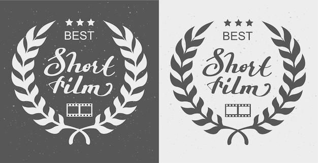 Melhor curta-metragem com prêmio laurel wreath Vetor Premium
