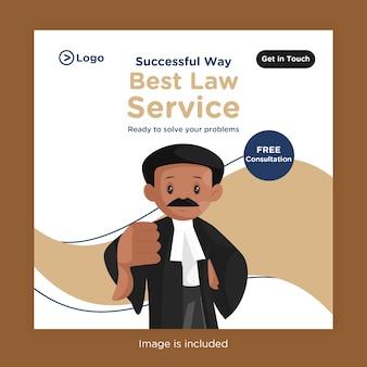 Melhor design de banner de serviço jurídico para mídia social com advogado mostrando o polegar para baixo