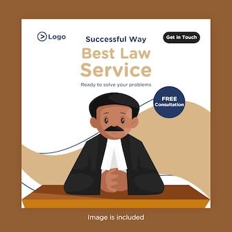 Melhor design de banner de serviços jurídicos para mídia social com um advogado