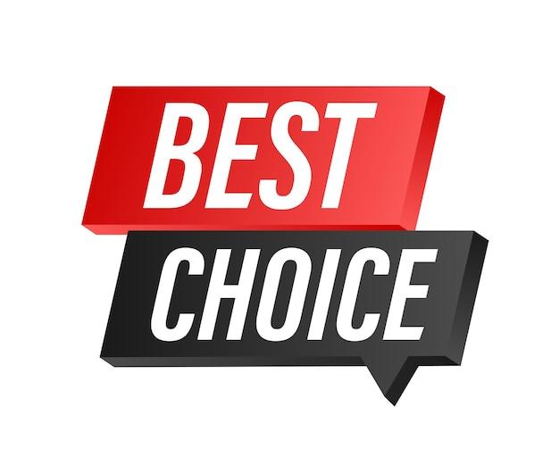 Melhor escolha, fita premiada em tecido vermelho. ilustração vetorial.