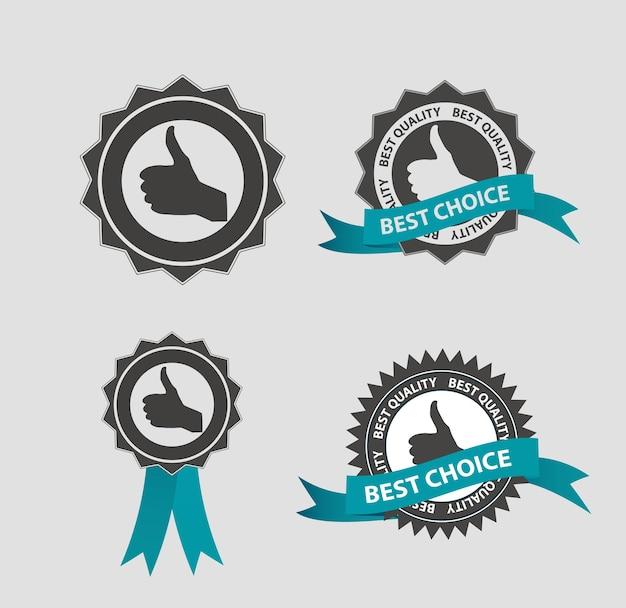 Melhor etiqueta bem escolhida do vetor com fita azul. eps10