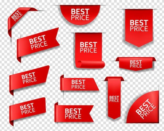Melhor etiqueta de preço, banner e cantos