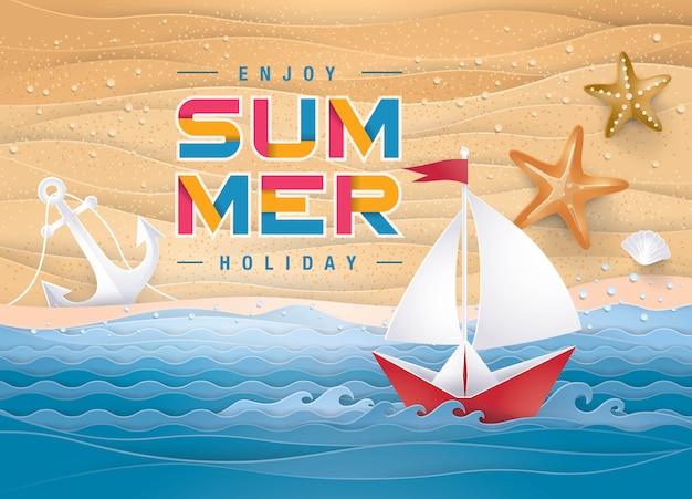 Melhor fundo de praia de férias de verão, the sand sea shore para a temporada de verão Vetor Premium