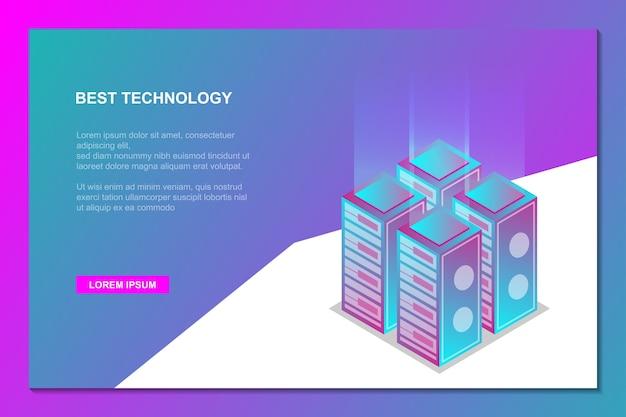 Melhor fundo isométrico de tecnologia de servidor
