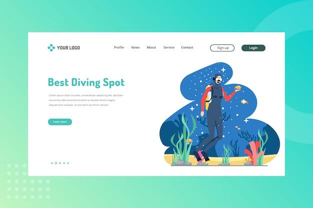 Melhor ilustração de ponto de mergulho para viajar conceito na landing page