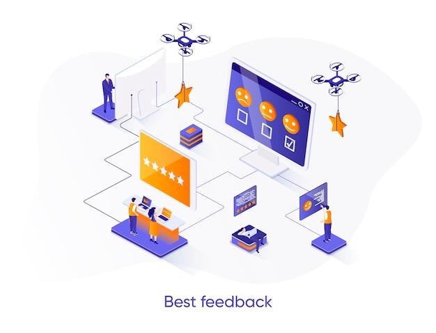 Melhor ilustração isométrica de feedback com personagens de pessoas