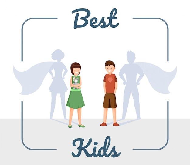 Melhor ilustração plana de crianças