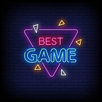 Melhor jogo vetor de texto de estilo de sinais de néon
