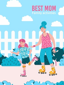 Melhor mãe e filha patinando ao ar livre juntos segurando cartazes de mãos. fazendo atividades familiares ao ar livre no banner do parque, ilustração plana dos desenhos animados