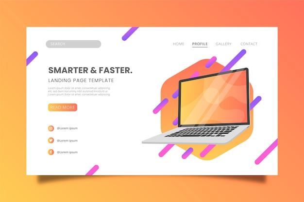 Melhor modelo de página de destino para design de laptop