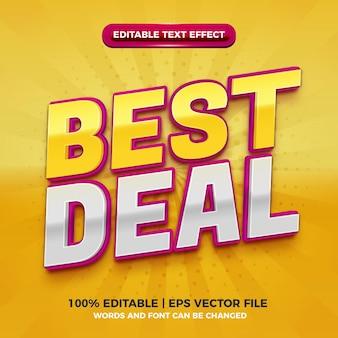 Melhor negócio moderno roxo amarelo efeito de texto editável 3d