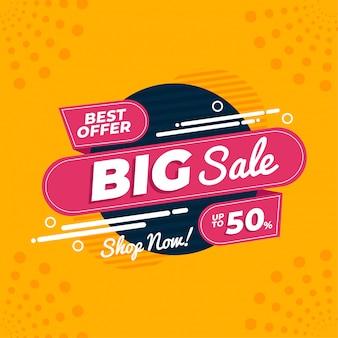 Melhor oferta modelo de banner de promoção de grande venda vetor premium