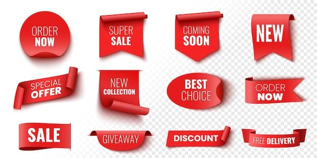 Melhor opção de pedido agora oferta especial nova coleção entrega gratuita banners de venda fitas vermelhas etiquetas e adesivos ilustração vetorial