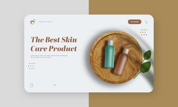 Melhor página de destino com base em produtos de skincare ou layout de banner da web para publicidade.