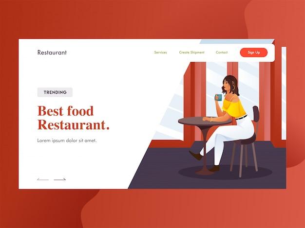 Melhor página de destino de restaurante de comida com garota moderna tomando café no restaurante.