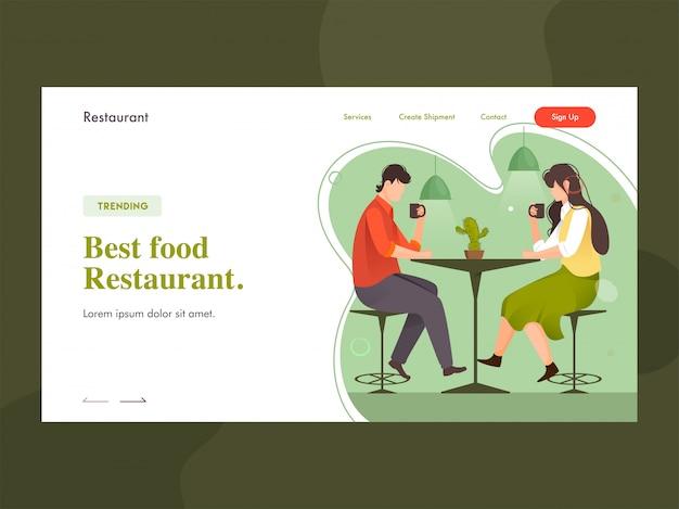 Melhor página de destino de restaurante de comida com menino e menina tomando café na mesa do restaurante.