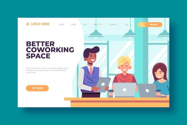 Melhor página de destino do espaço de coworking