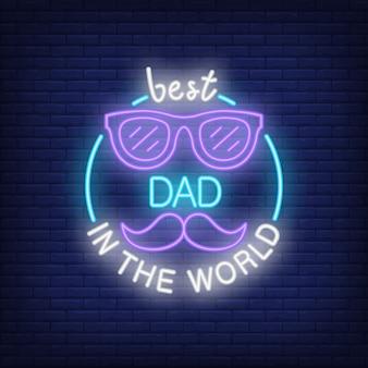 Melhor pai no ícone de estilo do mundo neon em fundo de tijolo.