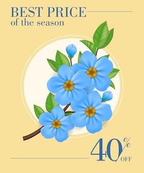 Melhor preço da temporada, quarenta por cento de desconto cartaz com flores azuis no quadro redondo