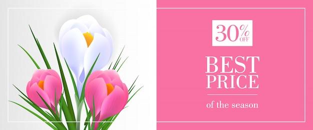 Melhor preço da temporada, trinta por cento de desconto banner com snowdrops em fundo rosa e azul