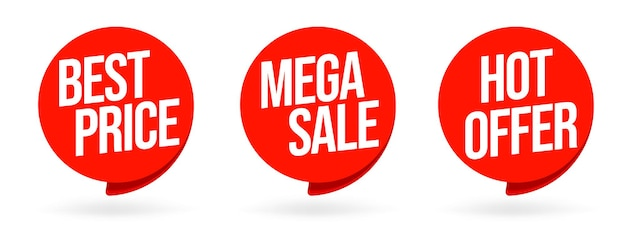 Melhor preço, mega venda, conjunto de bolha do discurso de grande oferta. etiqueta especial de promoção de varejo