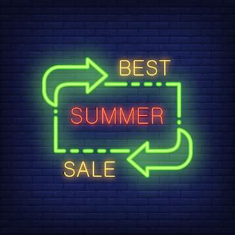 Melhor rotulação de venda de verão em estilo de néon. ilustração com texto brilhante