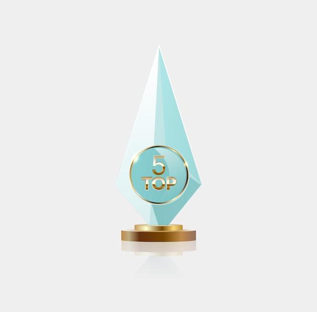 Melhor sinal de prêmio do pódio, objeto de vidro.