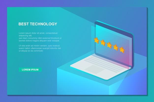 Melhor tecnologia de laptop com fundo isométrico de classificação de cinco estrelas
