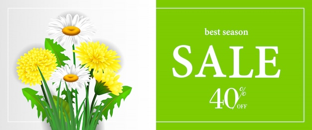 Melhor venda de temporada, quarenta por cento de desconto banner com dandelions e chamomiles