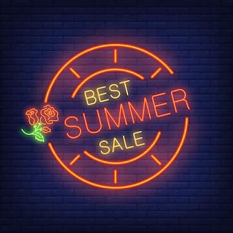 Melhor venda de verão. letras em estilo de néon. texto brilhante no quadro redondo