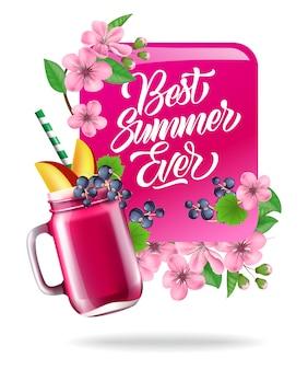 Melhor verão de sempre, pôster colorido com flores, folhas e sucos de frutas.
