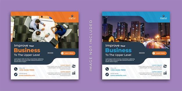 Melhore a sua agência de marketing digital de negócios e um folheto corporativo elegante, post de instagram de mídia social square ou modelo de banner da web