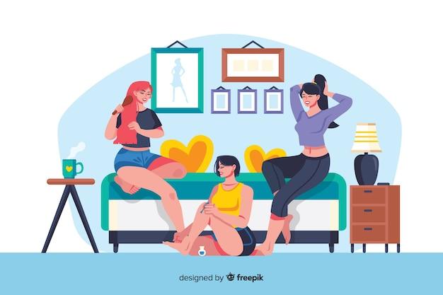 Melhores amigas a passar tempo juntos ilustrado