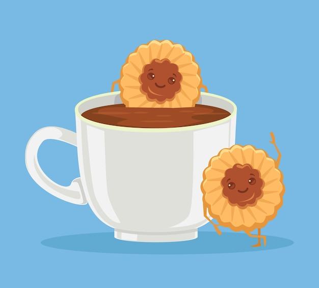 Melhores amigas de café e biscoitos.