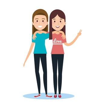 Melhores amigas, duas meninas felizes de pé