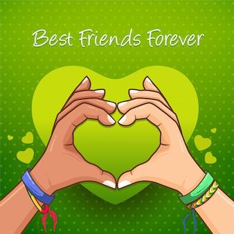 Melhores amigas para sempre coração com as mãos