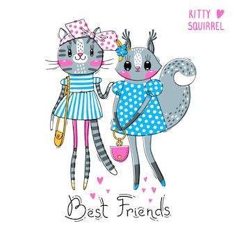 Melhores amigos. bebê gatinho e esquilo em roupas da moda.