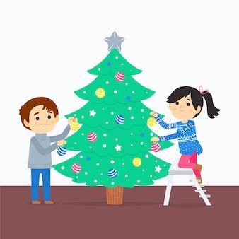 Melhores amigos decorando a árvore de natal