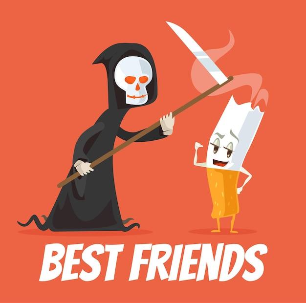 Melhores amigos dos personagens da morte e do cigarro.